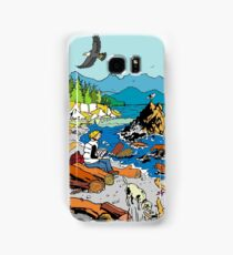 Relaxing at the beach on a windy day Samsung Galaxy Case/Skin