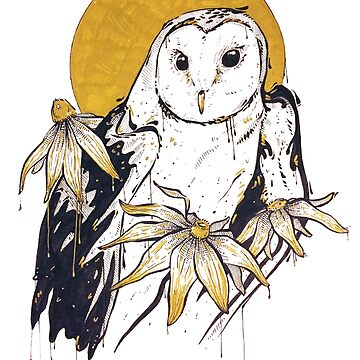 Inktober - Owl and Susans by MicaelaDawn