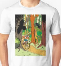 Mountain biking through the forest Unisex T-Shirt
