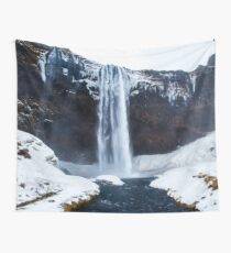 Iceland Winter Waterfall Tapestry / Nautre Landscape Photography Wall Tapestry