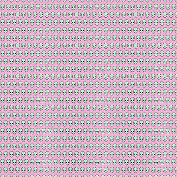 Alien Pattern {Seafoam on Pink} by IggyMarauder