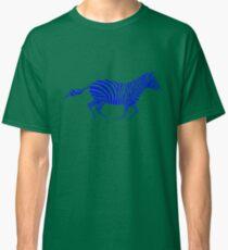Galloping Zebra Stencil - Blue Classic T-Shirt