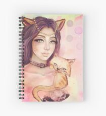 Cat and Girl Spiral Notebook