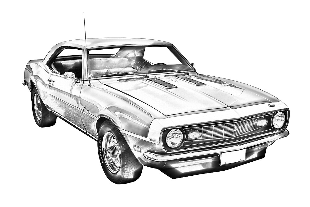 Chevrolet Camaro Muscle Car Illustration By Kwjphotoart