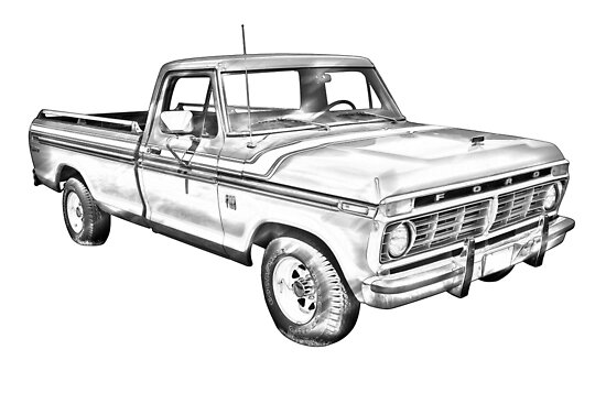 1975 ford f100 explorer pickup truck illustrarion posters