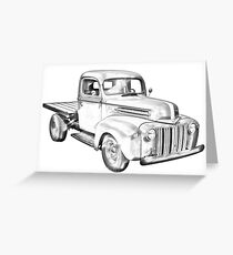1947 Ford Flat Bed Pickup Truck Illustration Greeting Card