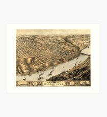 Vintage Pictorial Map of Kansas City (1869) Art Print