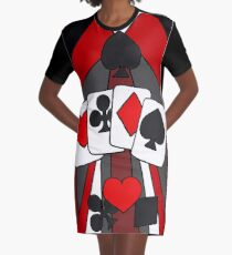 Artistic Fun Playing Cards Abstract Art Graphic T-Shirt Dress