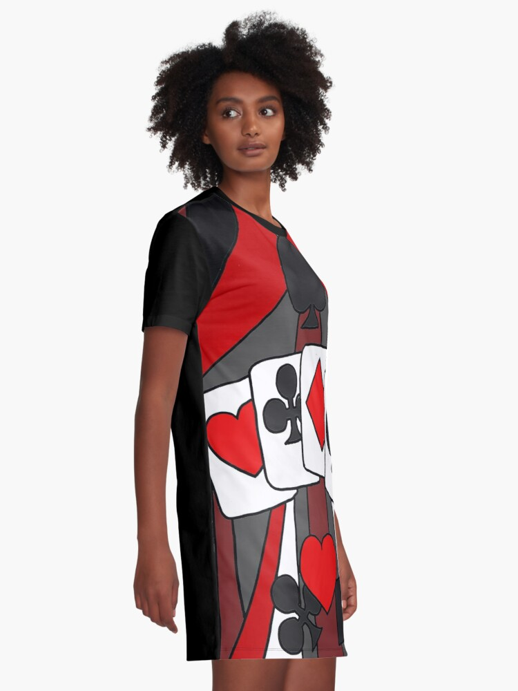 Alternate view of Artistic Fun Playing Cards Abstract Art Graphic T-Shirt Dress