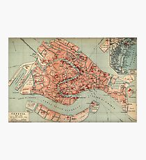 Vintage Map of Venice Italy (1920) Photographic Print