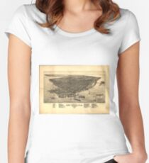 Vintage Pictorial Map of Key West FL (1884) Women's Fitted Scoop T-Shirt