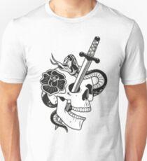 skull with dagger, snake and rose Unisex T-Shirt