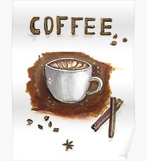 Cup of coffee with cinnamon sticks Poster