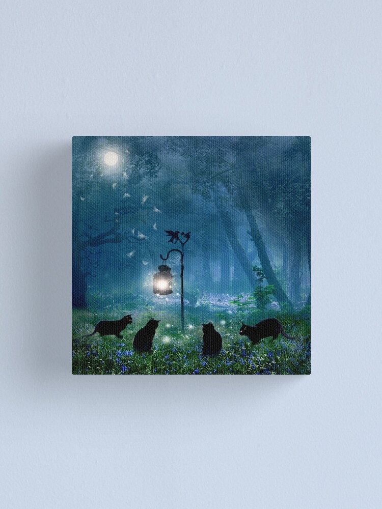 Alternate view of The Witches Cats (square) Canvas Print