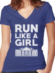 Run Like A Girl - Hillary Clinton Women's Fitted V-Neck T-Shirt