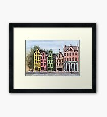 Amsterdam Street Scene - Watercolor Pen and Wash Framed Print