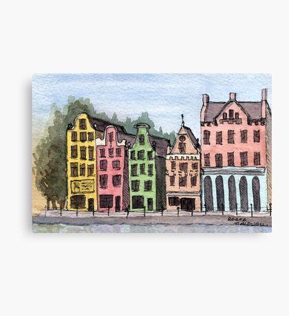 Amsterdam Street Scene - Watercolor Pen and Wash Canvas Print