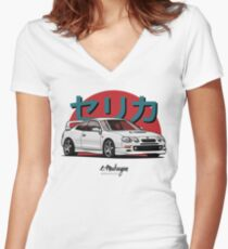 Celica GT-Four (white) Women's Fitted V-Neck T-Shirt