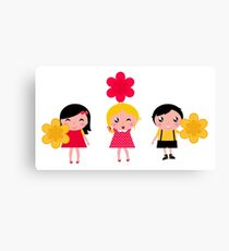 3 cute characters : Red, yellow and white Canvas Print