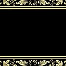 Black Gold Border Floral by SpiceTree