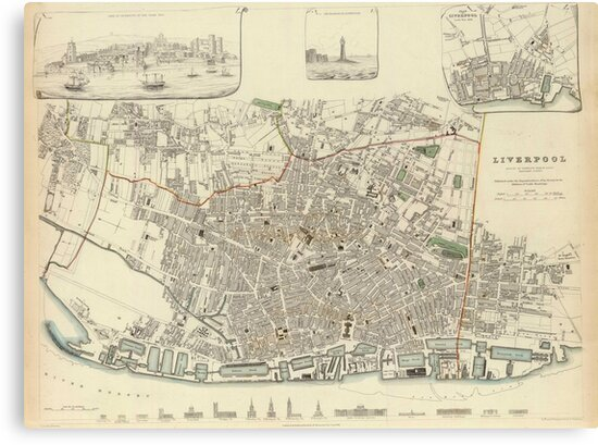 Vintage Map of Liverpool England (1836)\