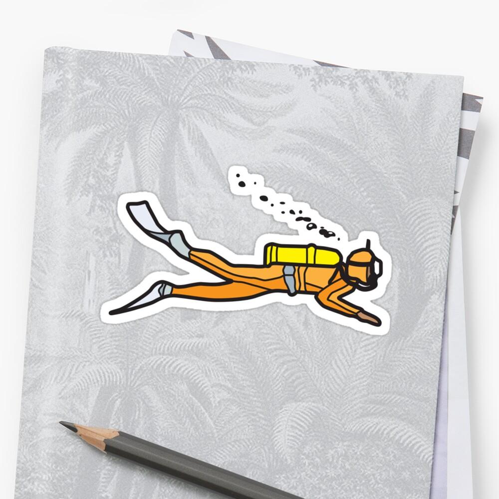 Orange Diver Sticker