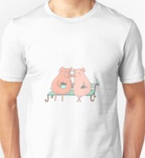 Couple of cute pigs sitting on a bench Unisex T-Shirt