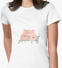 Couple of cute pigs sitting on a bench T-Shirt
