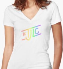 #TJLC text, rainbow Women's Fitted V-Neck T-Shirt