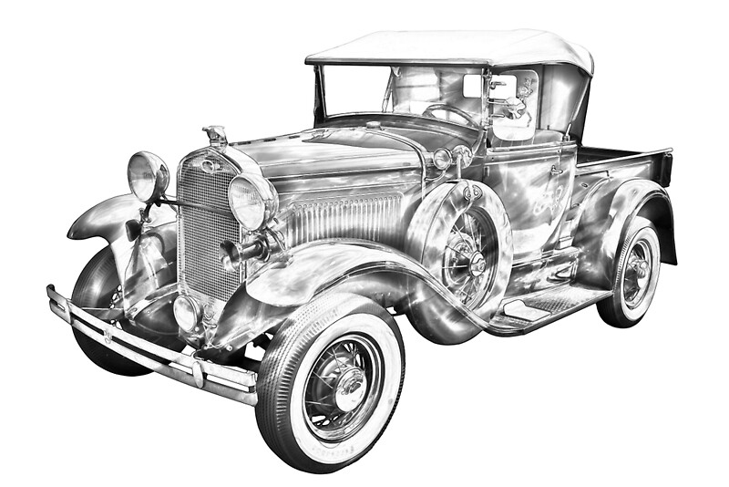 """1930 Ford Model A Pickup Truck Illustration"" by ..."