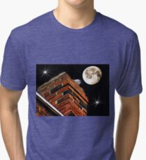 Bird on chimney and full moon layered Tri-blend T-Shirt