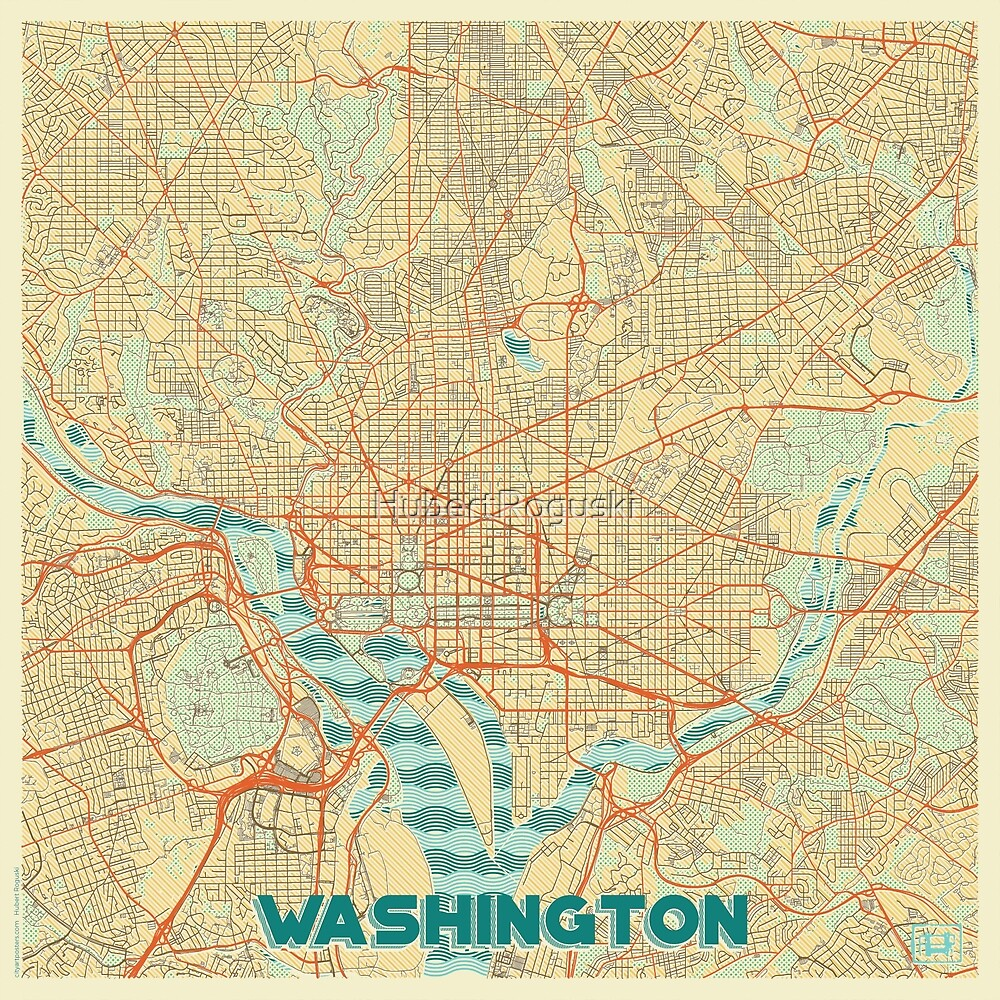 Washington Map Retro by HubertRoguski