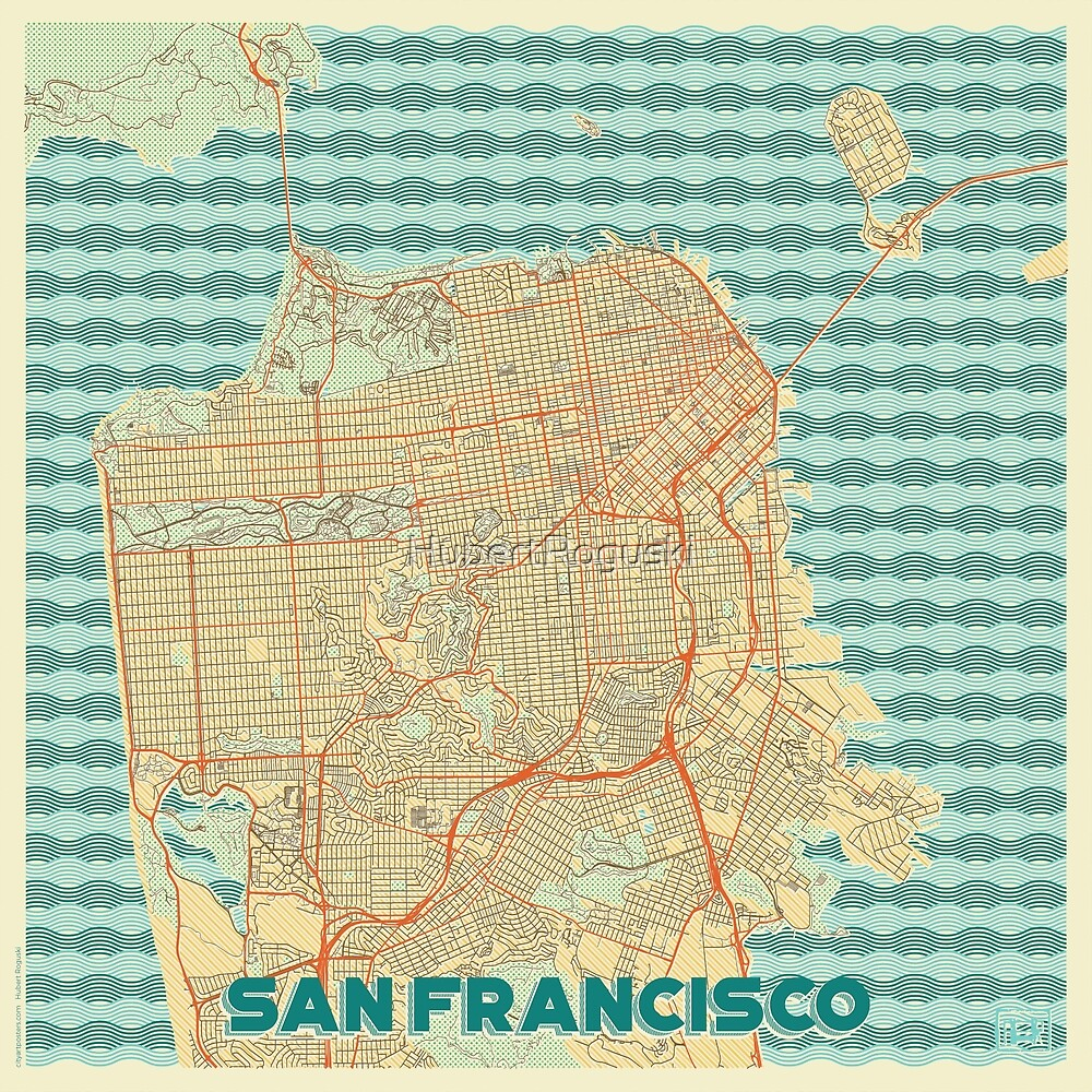 San Francisco Map Retro by HubertRoguski