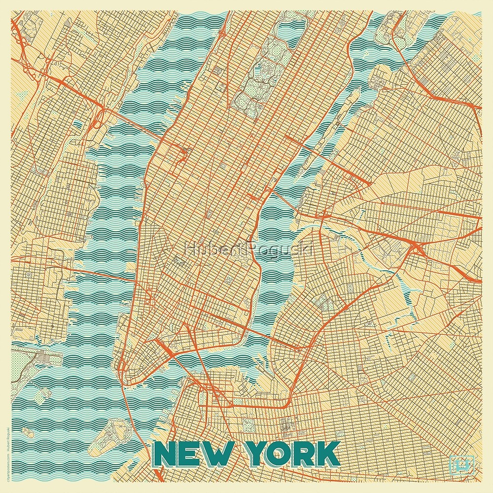 New York Map Retro by HubertRoguski