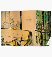 Watercolor of interior of a bar Poster