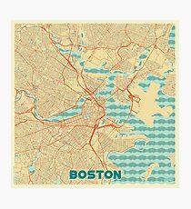 Boston Map Retro Photographic Print