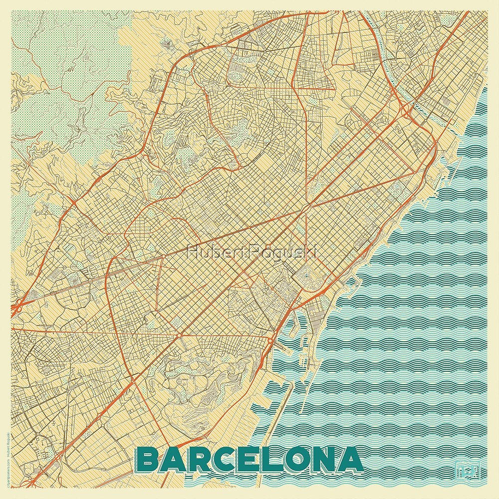 Barcelona Map Retro by HubertRoguski