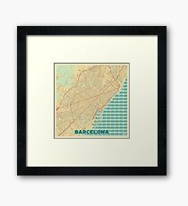 Barcelona Map Retro Framed Print