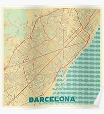 Barcelona Map Retro Poster