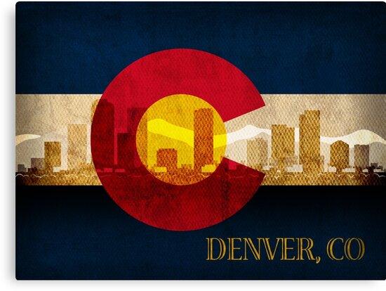 Denver Skyline Silhouette On Colorado State Flag Background Canvas