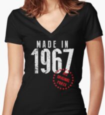 Made In 1967, All Original Parts Women's Fitted V-Neck T-Shirt