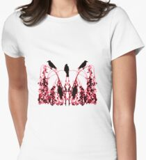 BLACK AND RED ON WHITE Women's Fitted T-Shirt