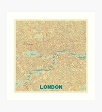 London Map Retro Art Print