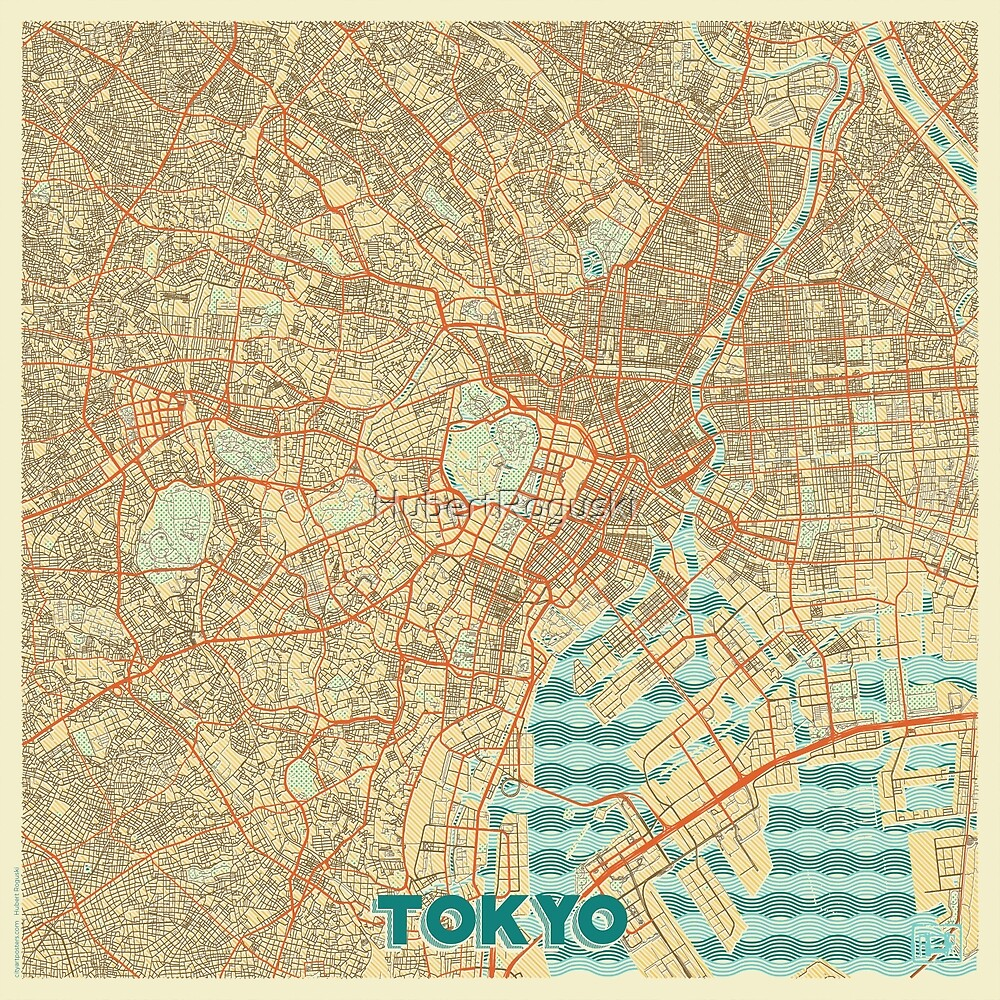 Tokyo Map Retro by HubertRoguski