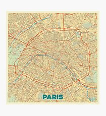 Paris Map Retro Photographic Print