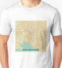 Melbourne Map Retro Unisex T-Shirt