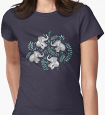 Laughing Baby Elephants – emerald and turquoise Womens Fitted T-Shirt