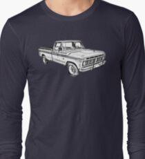 Camiseta de manga larga 1975 Ford F100 Explorer Pickup Truck Illustrarion