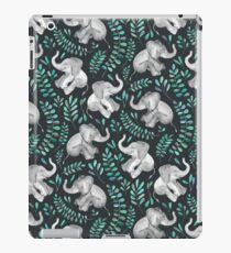 Laughing Baby Elephants – emerald and turquoise iPad Case/Skin