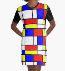 Retro Mondrian Pattern Graphic T-Shirt Dress